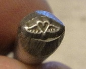 tiny Design Stamp - tiny HEART WITH WINGS - includes How to Stamp Metal tutorial