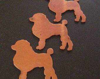 French Poodle - copper stamping - Quantity 1 - 22g - perfect for enameling, jewelry, etc