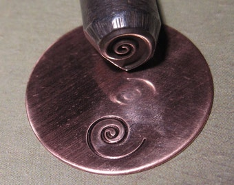 Big Design Stamp - BIGGER SWIRL - new size - 3/8 inch (9.5mm) - includes how to stamp metal tutorial