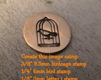 Big Design Stamp - BIRDCAGE - 9.5mm stamped image by ImpressArt -  includes How to Stamp Metal tutorial