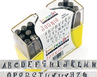 fun UPPERCASE steel letter stamps - by ImpressArt JEANIE - 4mm letters - includes how to stamp metal tutorial