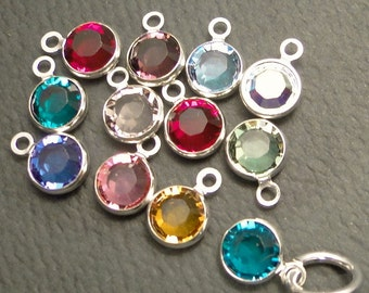 CHARMS - Swarovski BIRTHSTONE channel-set rounds - all 12 months - 6mm - with jump rings - add to your stamped creations