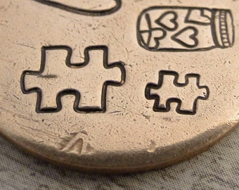 Big Design Stamp - PUZZLE PIECE by WonderStruck Studios - 3/8 inch (9.5mm) - includes How to Stamp Metal tutorial - in STOCK