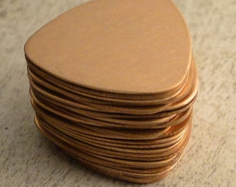 COPPER - Guitar Pick or Triangle Blanks - 24g - perfect for your enameling or metal stamping needs