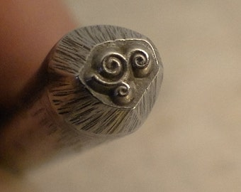 teeny tiny Design Stamp - TRIPLE LooP FANCY Flourish - 1/8 inch or 3-4mm - includes How to Stamp Metal tutorial