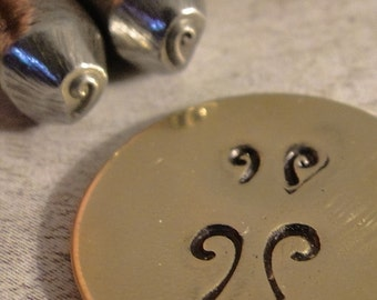 teeny tiny Design Stamps - LEFT and RIGHT CURLS - 1/8 inch or 3-4mm - includes How to Stamp Metal tutorial