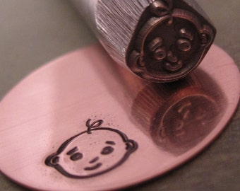 Big Design Stamp - BABY FACE - new size 3/8 inch (9.5mm) - includes How to Stamp Metal tutorial