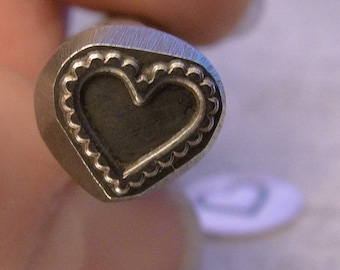 Big Design Stamp - SCALLOPED HEART - new size 3/8 inch (9.5mm) - includes How to Stamp Metal tutorial