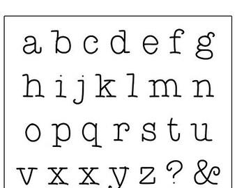 ViNTAGE Hand-Typed 1/4 inch - LOWERCASE typewriter font by WonderStruck Studios - Monogram letters - includes tutorial practice metal
