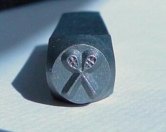 Design Stamp - LACROSSE STICKS - 6mm stamped image by ImpressArt -  includes How to Stamp Metal tutorial