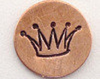 Design Stamp - FANCY CROWN - 6mm stamped image -  includes How to Stamp Metal tutorial