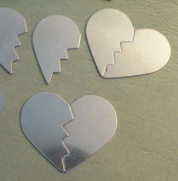 NICKEL SILVER - Broken Heart or Best Friend or BFF Blanks - 24g - perfect for your enameling or metal stamping needs