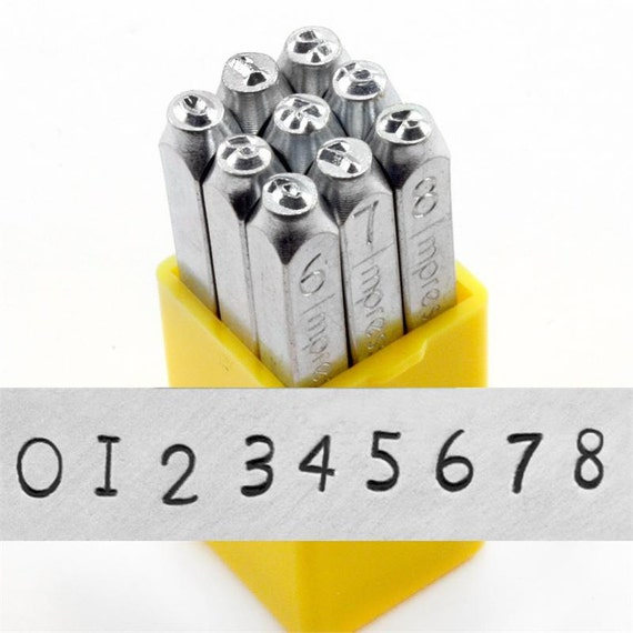 "NEWSPRINT - Steel number stamps - Typewriter font - 1/8"" (3MM) size - includes how to stamp metal tutorial"