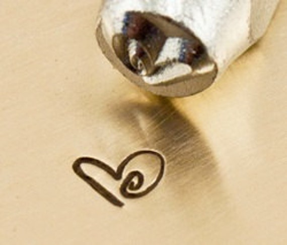 tiny Design Stamp - BOOGIE HEART - 3mm stamped image by ImpressArt -  includes How to Stamp Metal tutorial