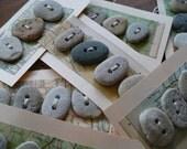 BEACH STONE BUTTONS...  5 beach stone button tags