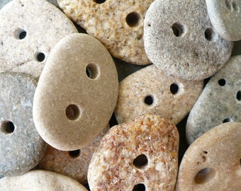 10 BEACH STONE BUTTONS...10 hand drilled beach stones-organic bead-earth pebbles
