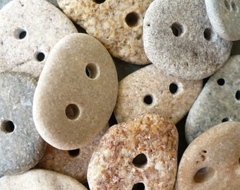 5 BEACH STONE BUTTONS...5 hand drilled stones-Sand beige gray pebbles-sewing finding button