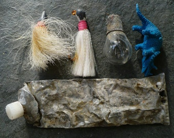 BEACH TREASURES...a collection of  beach finds, steampunk, collage, fish lures,verdigris