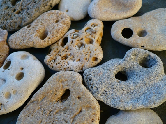 20 BEACH TREASURES with natural holes
