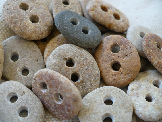8 BABY STONE BUTTONS...8 little hand drilled beach stones -jewelry knitting sewing notion-gift guide organic bead