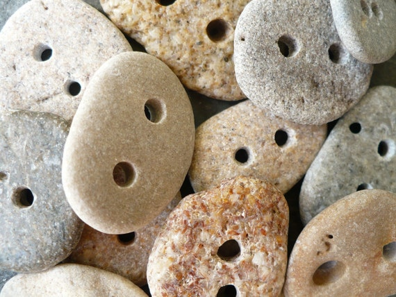5 BEACH STONE BUTTONS...hand drilled beach stones, natural organic supplies