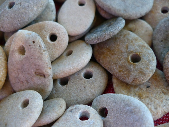 DRILLED STONES...a selection of 10 buttons and 10 pendants