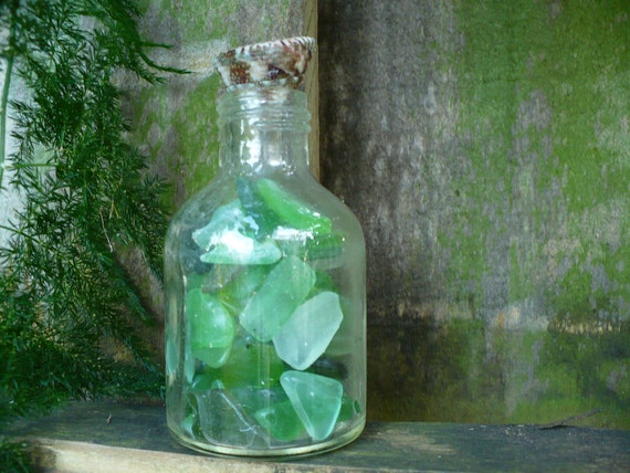 OCEAN GIFTS...beach walking collection, bottle filled with sea glass