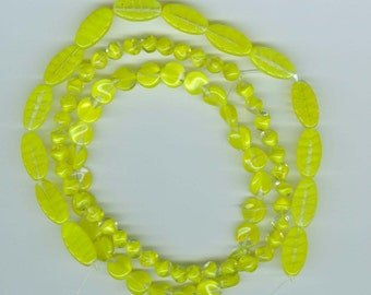 Sale 3 Strand Mix Vintage Yellow Givre Beads Glass