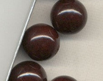 15mm Reddish Brown Vintage Glass Beads