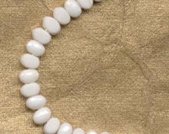 100  Vintage 6x4 Czechoslovakian  White Nailheads/Nail Head Beads/Sewons