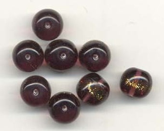 12 Purple\/Aventurine Swirled Vintage Czech Glass Beads