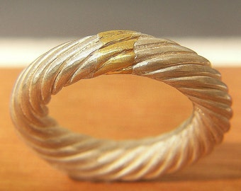 24k gold and sterling silver twisted ring