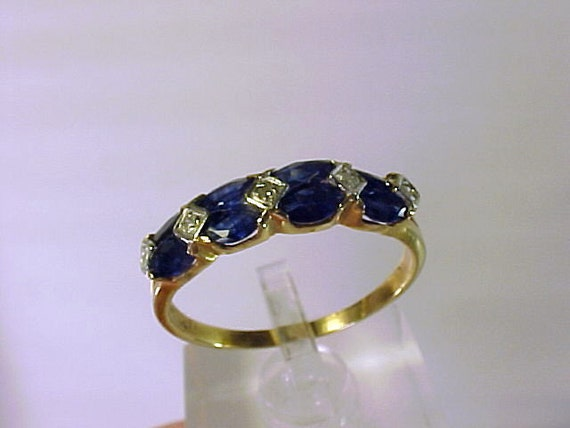 ON HOLD 10k Yellow Gold & Sapphire with Diamonds Ring Size 9