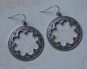 Earrings Antiqued Silver Hoops