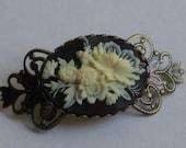 Ivory and Black Floral Barrette