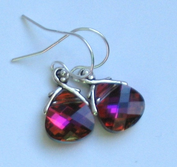 Rose Volcano Crystal Earrings and Sterling Silver