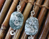 sterling silver wire wrapped green agate stone earrings