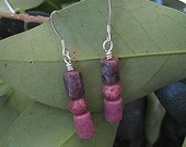 handcrafted sterling silver natural pink rhodonite earrings - hello rhodo