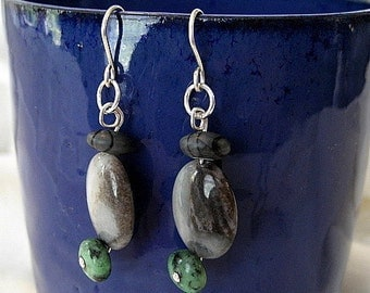 sterling silver earrings handmade with green turquoise blue gray amazonite and Picasso jasper gemstones
