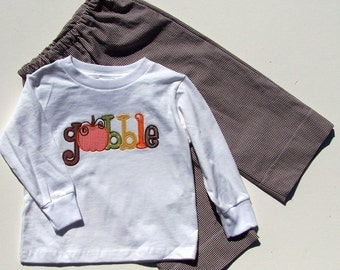Gobble Thanksgiving Appliqued Tee shirt and Pant Set for Children