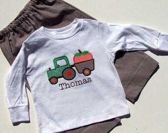 Pumpkin Tractor Appliqued Tee shirt and Pants set for Children