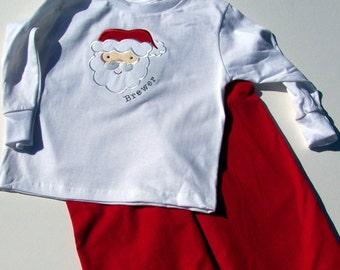 Personalized Santa Applique Tee Shirt and Pants set