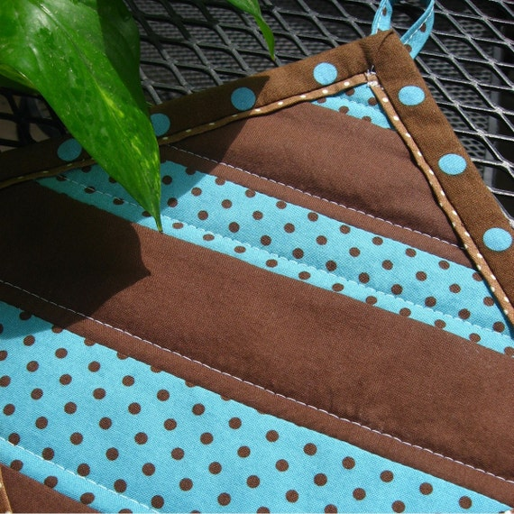 Brown and teal quilted hot pad or pot holder, 8 inches square