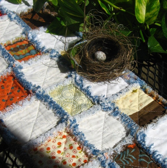 Table runner, rag quilted, fall fabrics with denim.