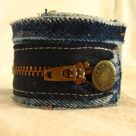Denim cuff, waistband and zipper from vintage Eddie Bauer jeans, upcycled