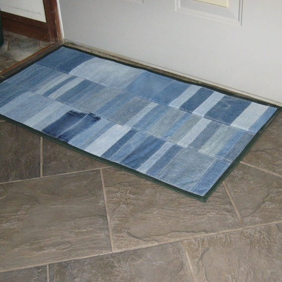 Pieced And Quilted Upcycled Denim Rug Mat For Your Door Sink