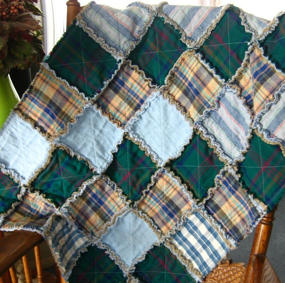 Rag Quilted Blanket Dog Quilt Dog Blanket Using Upcycled