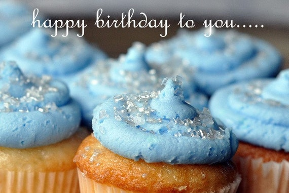 Cupcake Blue Happy Birthday to you....Card by dbPhoto on Etsy