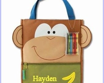 Personalized Monkey Art Totes, Creative Tote, Crayon Bag, Toddler Gift, Art Supplies, Organizer, Travel Sac, Travel Bag, Birthday,