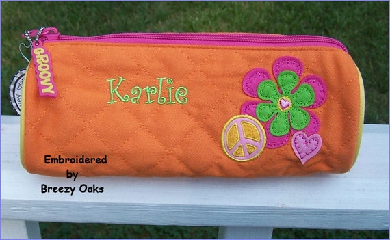 Personalized Stephen Joseph Peace Pencil Pouch